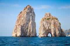 Capri island, Faraglioni rocks. Mediterranean Sea Royalty Free Stock Photos