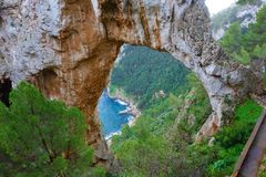 Capri island, Italy - Arco Naturale Natural Arch stock photos