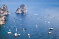 Capri island, Italy. Coastal landscape and yachts Royalty Free Stock Images