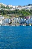 Capri island, Italy. Marina Grande bay from above, Capri island, Italy, retro toned royalty free stock photography