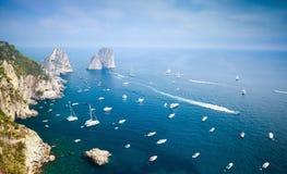 Capri island, Italy. Mediterranean Sea, yachts Royalty Free Stock Photos