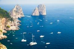 Capri island, Italy. Pleasure boats and yachts Stock Photos