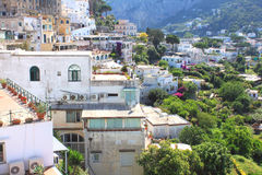 Capri island, Italy. Traditional Italian architecture at the seaside in the mountains. Royalty Free Stock Image
