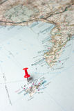 Capri island on a map. Capri island indicated on the map as a geographical concept of tourism royalty free stock photos
