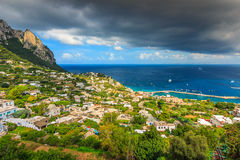 Capri island with old town and harbor,Italy,Europe Royalty Free Stock Photo