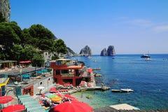 Capri island. A view of Marina Piccola beach on the Capri island Royalty Free Stock Photo