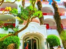 Capri, Italië - Mei 04, 2014: Hotella Palma in oud centrum Stock Foto's