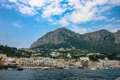 Capri Italien, Marina Grande royaltyfria bilder