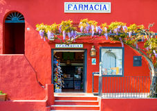 Capri. Italy - April 22, 2007: The full color pharmacy in Marina Grande harbor stock photos