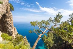 Capri Italy, island in a beautiful summer day, with faraglioni rocks and natural stone arch. With side view of the natural rocky arc Royalty Free Stock Image