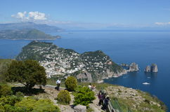 CAPRI, ITALY, MAY 8, 2014: View over capri town taken from the viewpoint on the top of the hill. Royalty Free Stock Photo