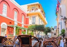 Street cafe at Capri Island. Capri, Italy - October 3, 2017: Street cafe at Capri Island, Italy royalty free stock photography