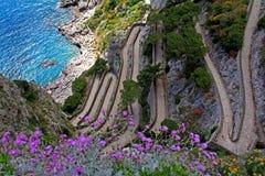Capri: the Krupp path Stock Photo