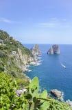 Capri-kust, Campania, Italië Stock Fotografie