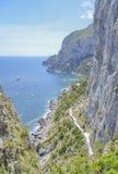 Capri-kust, Campania, Italië Royalty-vrije Stock Afbeelding