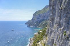 Capri-kust, Campania, Italië Stock Foto's