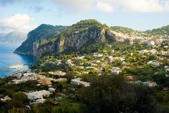 Capri landscape. Landscape shot of Capri with city in background Royalty Free Stock Image