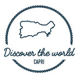 Capri Map Outline. Vintage Discover the World. Capri Map Outline. Vintage Discover the World Rubber Stamp with Island Map. Hipster Style Nautical Insignia, with royalty free illustration
