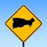 Capri map on road sign. Square poster with Capri island map on yellow rhomb road sign. Vector illustration royalty free illustration