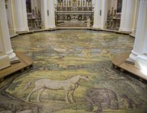 Capri, Naples, Italy. The majolica floor mosaic of the Church of St Michael the Archangel.  Stock Photo