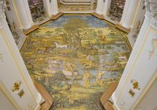 Capri, Naples, Italy. The majolica floor mosaic of the Church of St Michael the Archangel.  Stock Images