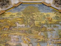 Capri, Naples, Italy. The majolica floor mosaic of the Church of St Michael the Archangel.  Royalty Free Stock Photos