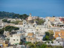 Capri, Naples, Italy. Views of the village of Anacapri from the chairlift.  Royalty Free Stock Photo