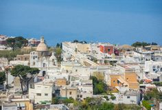 Capri, Naples, Italy. Views of the village of Anacapri from the chairlift.  Royalty Free Stock Images