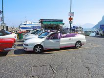 Capri, Napoli. Typical taxi without roof waiting for clients stock photo
