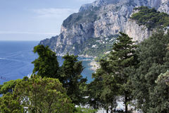 Capri. A particular stretch of the coast of Capri overlooking the sea Royalty Free Stock Images