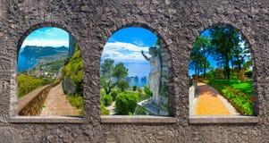 Capri, pięknej i sławnej wyspa w morza śródziemnomorskiego wybrzeżu, Naples Włochy kolaż Obrazy Stock