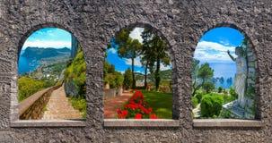 Capri, pięknej i sławnej wyspa w morza śródziemnomorskiego wybrzeżu, Naples Włochy kolaż obraz stock