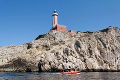 Capri Punta Carena lighthouse Stock Images