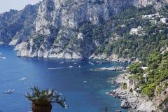Capri. Shot from the coast to the Bay of Marina Piccola in Capri Royalty Free Stock Images