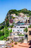 Capri town view. Capri town on Capri island, Campania, Italy. Capri is an island in the Tyrrhenian Sea off the Sorrentine Peninsula, on the south side of the Stock Photo