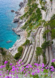 Capri, vía Krupp, Italia foto de archivo
