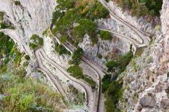 Capri, vía Krupp, Italia imágenes de archivo libres de regalías