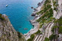 Capri, Via Krupp, Italy. Stock Photos