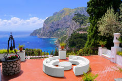 Capri view. View from a luxurious terrace on the island of Capri, Italy Royalty Free Stock Images