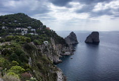 Capri. A view from the coast of the Faraglioni of Capri Royalty Free Stock Images