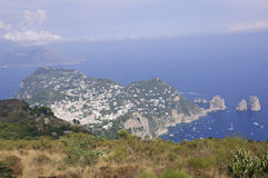 Capri view from Monte Solaro in Italy Stock Images