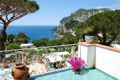 Capri, vista del balcone Fotografia Stock Libera da Diritti