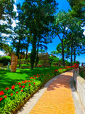 Capri Włochy, Maj, - 04, 2014: Bautiful jawny ogród w wyspie Zdjęcia Stock