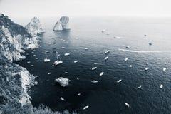 Capri wyspy krajobraz, Włochy Błękitna stonowana fotografia Obraz Royalty Free