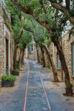 Capri wyspy ulica pod chmurnym niebem po burzy Zdjęcie Stock