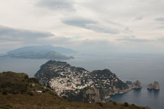 Capri, wzgórze widok Włochy Obrazy Royalty Free