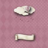 Capricieuze achtergrond in roze met banner royalty-vrije stock afbeeldingen