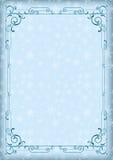 Capricieuze blauwe rechthoekige kader en de winterachtergrond met sneeuwvlokken Stock Fotografie
