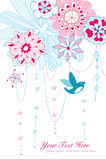 Capricieuze bloemen en vogel Royalty-vrije Stock Foto's