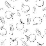 Capricieuze hand-drawn krabbelsinaasappelen en achtergrond van het sap de vector naadloze patroon Lijn Art Summer Fruits vector illustratie